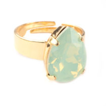 Ring Swarovski druppel chrysolite mint