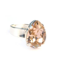 Ring Swarovski Elements druppel vintage roze