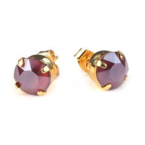 Oorknopjes Swarovski Elements bordeaux rood 8 mm