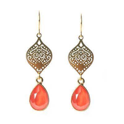 Statement oorbellen Swarovski coral light