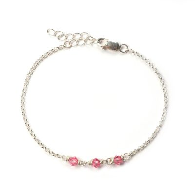 Sterling zilveren armband Swarovski Elements crystal peony