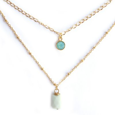 Ketting duo amazoniet mint
